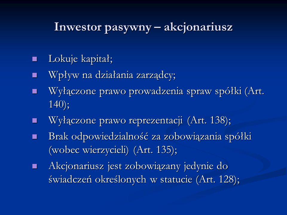 Inwestor pasywny – akcjonariusz Lokuje kapitał; Lokuje kapitał; Wpływ na działania zarządcy; Wpływ na działania zarządcy; Wyłączone prawo prowadzenia