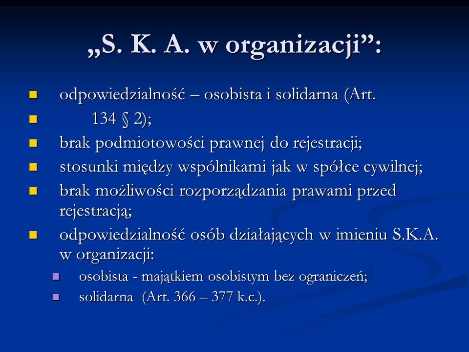 """""""S. K. A. w organizacji"""": odpowiedzialność – osobista i solidarna (Art. odpowiedzialność – osobista i solidarna (Art. 134 § 2); 134 § 2); brak podmiot"""