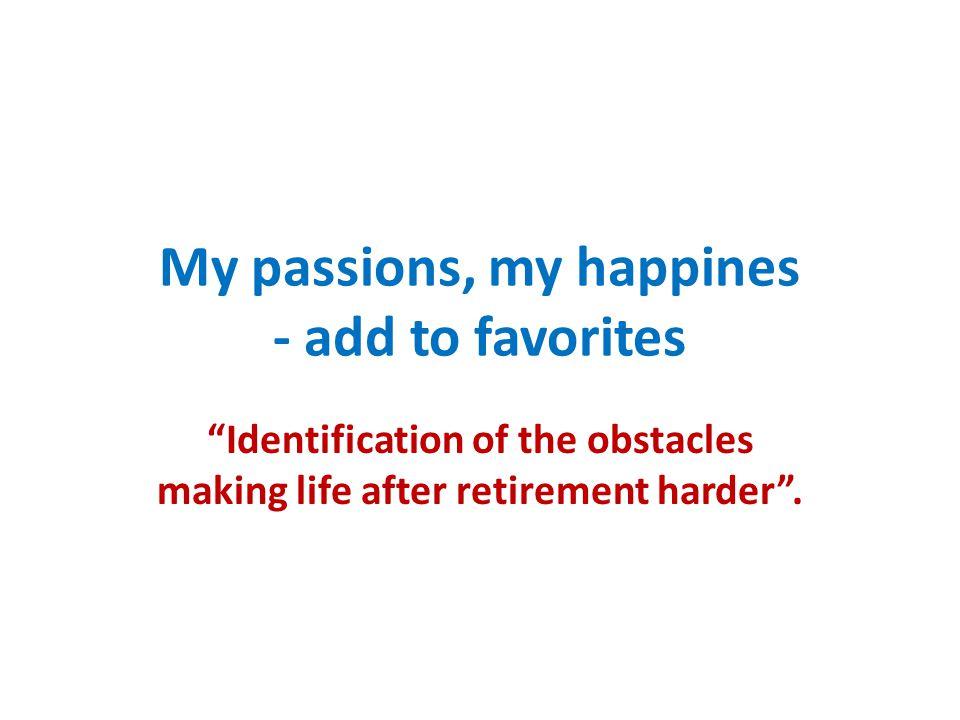 Identification of the obstacles making life after retirement harder Brak środków finansowych na godne życie