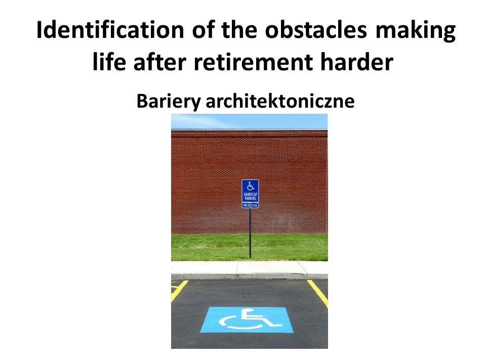 Identification of the obstacles making life after retirement harder Brak rozeznania potrzeb ludzi starszych
