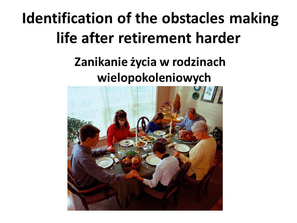 Identification of the obstacles making life after retirement harder Niezrozumiały język urzędniczy