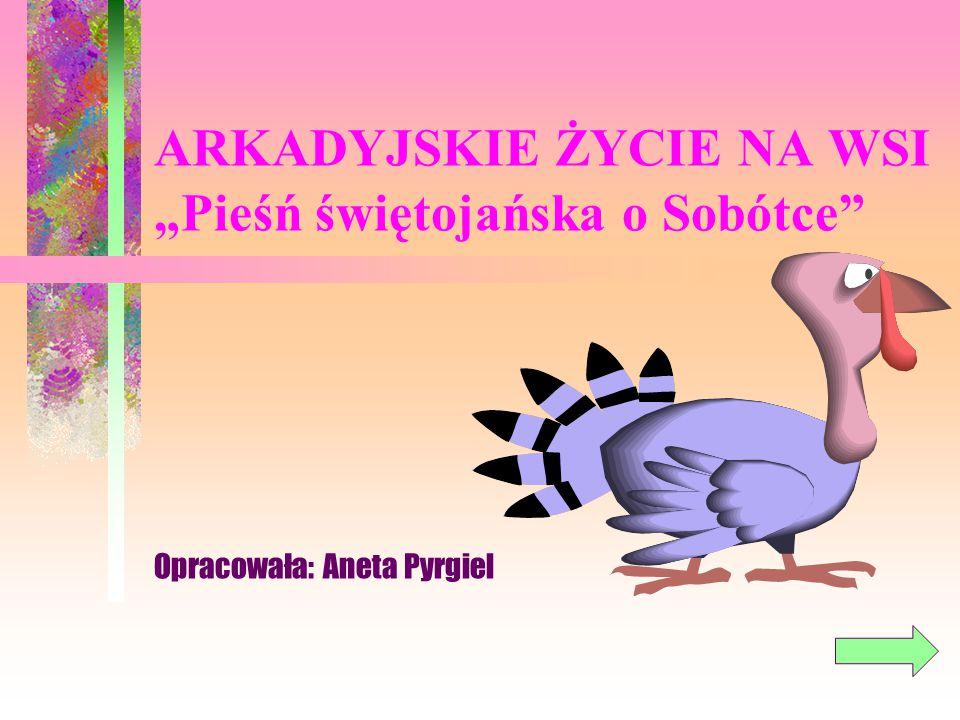 KILKA WAŻNYCH POJĘĆ Arkadia Sielanka Sobótka Literatura polska i Arkadia ZAKOŃCZ