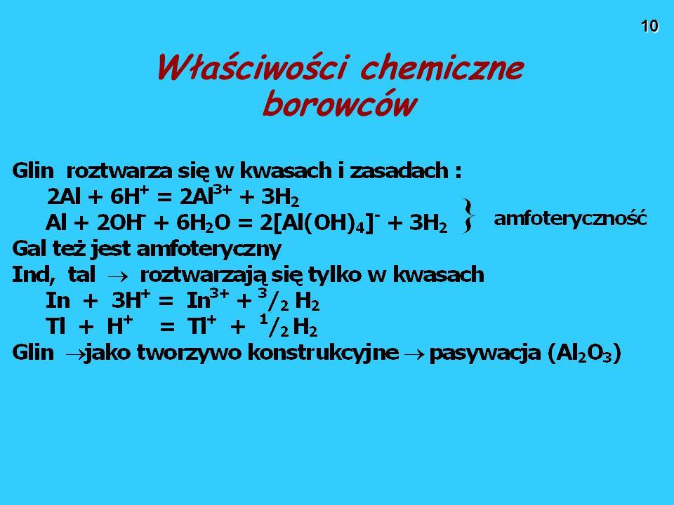 10 Właściwości chemiczne borowców