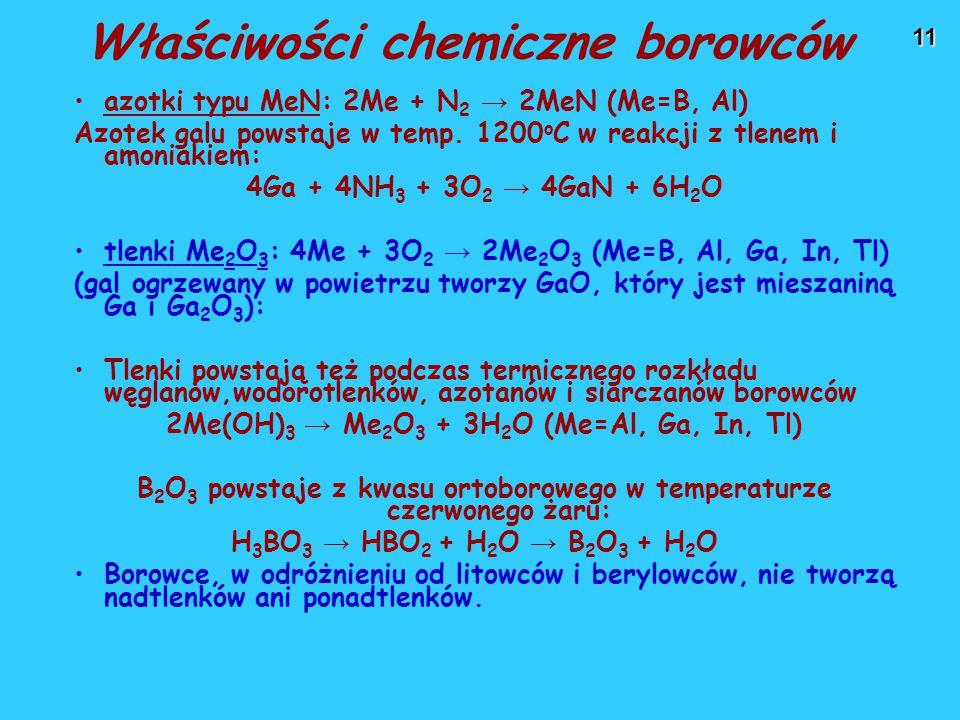 11 azotki typu MeN: 2Me + N 2 → 2MeN (Me=B, Al) Azotek galu powstaje w temp.