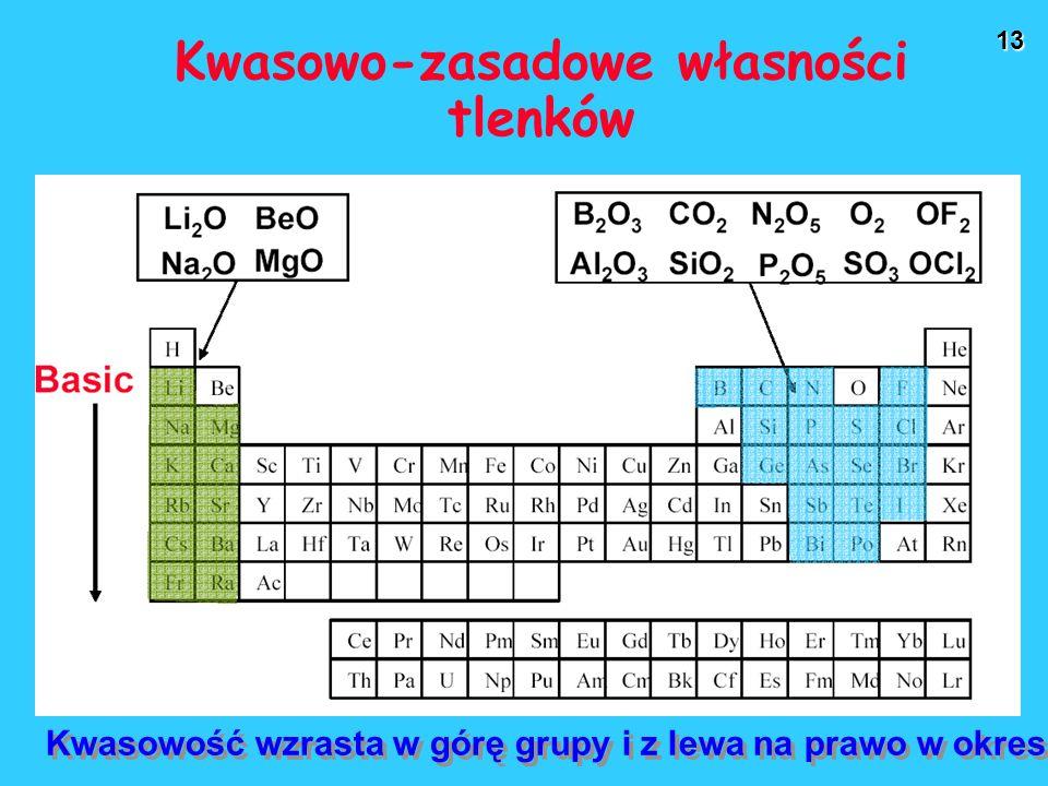 13 Kwasowo-zasadowe własności tlenków Kwasowość wzrasta w górę grupy i z lewa na prawo w okresie