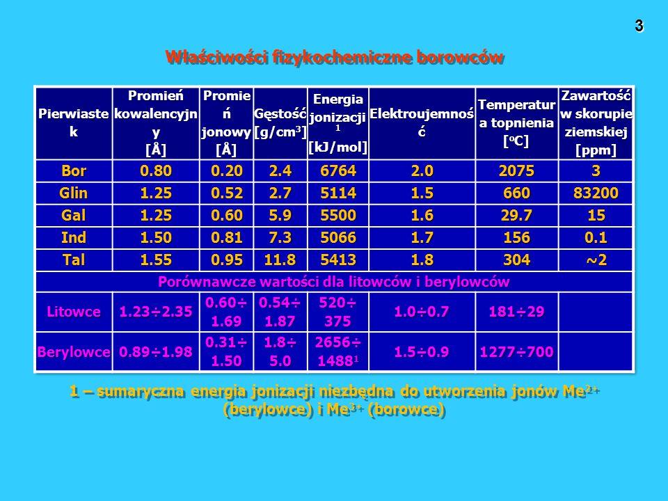3 Właściwości fizykochemiczne borowców 1 – sumaryczna energia jonizacji niezbędna do utworzenia jonów Me 2+ (berylowce) i Me 3+ (borowce)