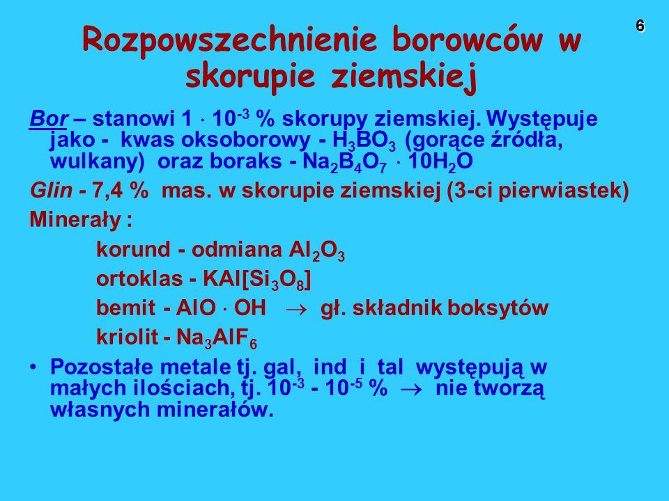 27 Najważniejsze zastosowania związków borowców Bor (B), glin (Al), w mniejszym stopniu gal (Ga) i ind (In): dodatki stopowe do stali.