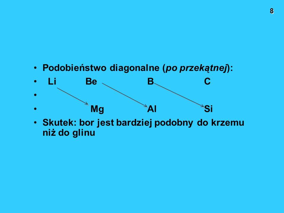 8 Podobieństwo diagonalne (po przekątnej): Li BeBC MgAlSi Skutek: bor jest bardziej podobny do krzemu niż do glinu