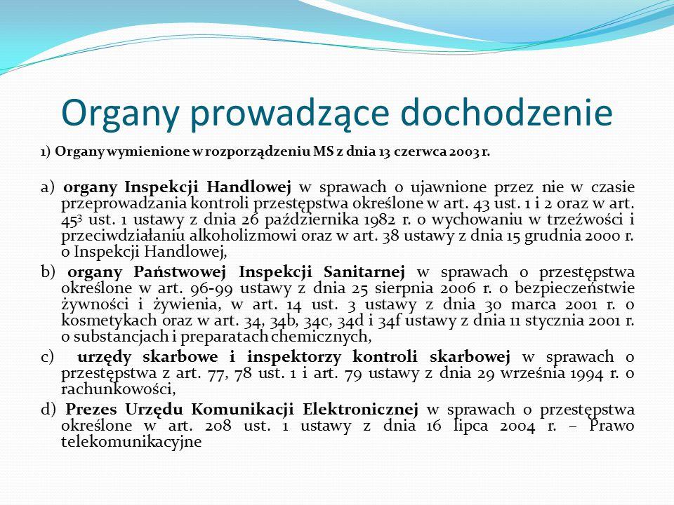 Organy prowadzące dochodzenie 1) Organy wymienione w rozporządzeniu MS z dnia 13 czerwca 2003 r. a) organy Inspekcji Handlowej w sprawach o ujawnione