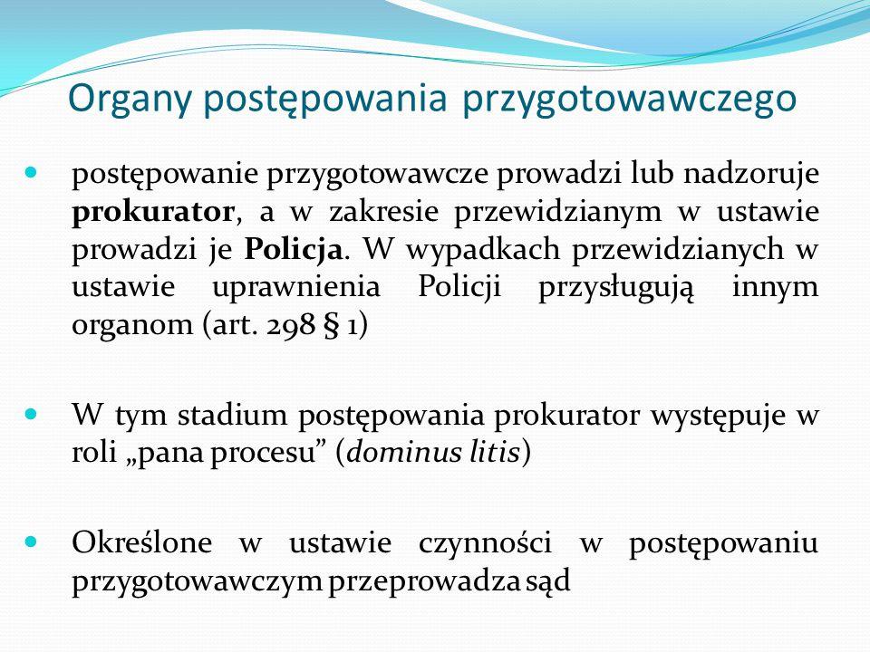 Organy postępowania przygotowawczego postępowanie przygotowawcze prowadzi lub nadzoruje prokurator, a w zakresie przewidzianym w ustawie prowadzi je P