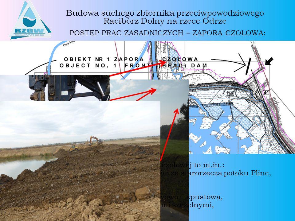 Budowa suchego zbiornika przeciwpowodziowego Racibórz Dolny na rzece Odrze POSTĘP PRAC ZASADNICZYCH – ZAPORA PRAWOBRZEŻNA I LEWOBRZEŻNA: Roboty dotychczas zrealizowane na zaporach prawobrzeżnej i lewobrzeżnej to m.in.: Usunięcie humusu, Karczowanie pni, Przygotowanie dróg dojazdowych, Rozbiórka hałdy nadkładu w rejonie rzeki Psiny, Zasyp wyrobiska w rejonie zakładu UTEX - TERRA