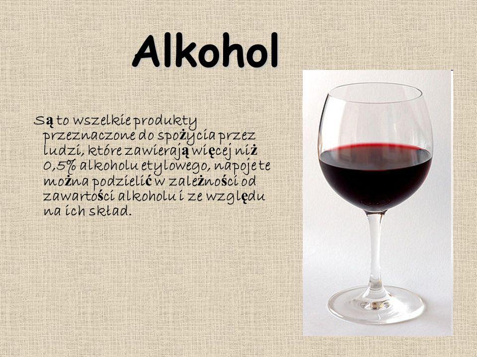 Alkohol S ą to wszelkie produkty przeznaczone do spo ż ycia przez ludzi, które zawieraj ą wi ę cej ni ż 0,5% alkoholu etylowego, napoje te mo ż na podzieli ć w zale ż no ś ci od zawarto ś ci alkoholu i ze wzgl ę du na ich skład.