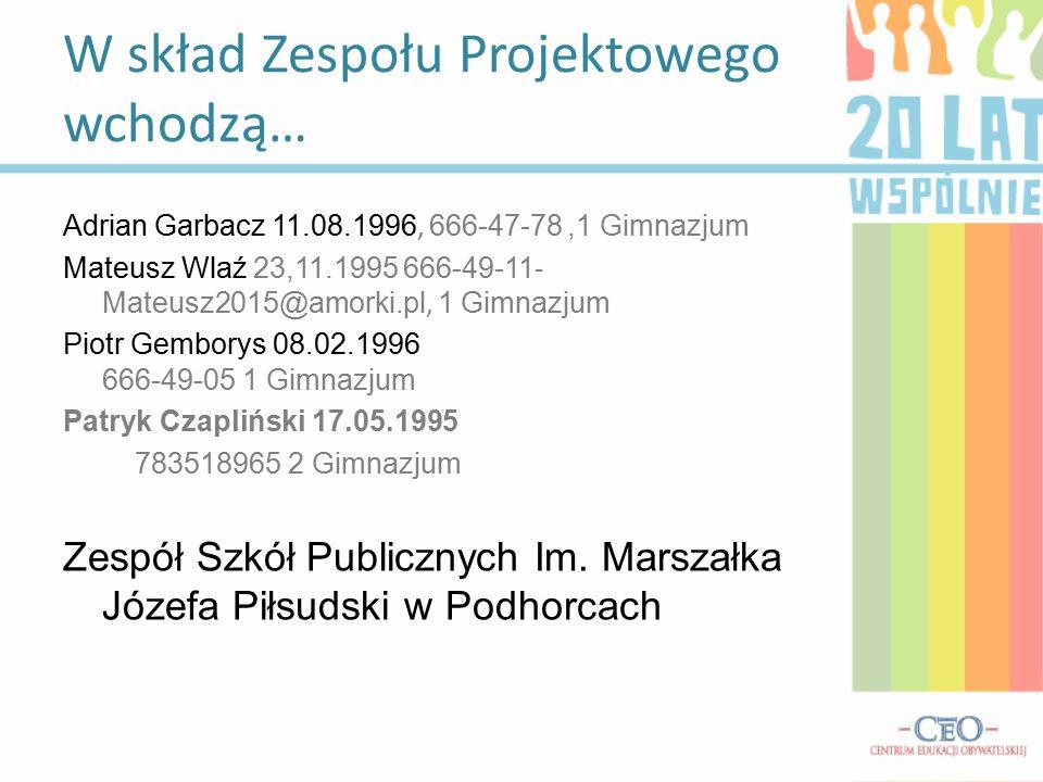 Adrian Garbacz 11.08.1996, 666-47-78,1 Gimnazjum Mateusz Wlaź 23,11.1995 666-49-11 - Mateusz2015@amorki.pl, 1 Gimnazjum Piotr Gemborys 08.02.1996 666-