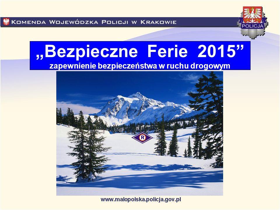 Bądź ostrożny Podczas ubiegłorocznych ferii zimowych na małopolskich drogach doszło do 290 wypadków drogowych, w których 29 osób zginęło, a 332 zostały ranne.