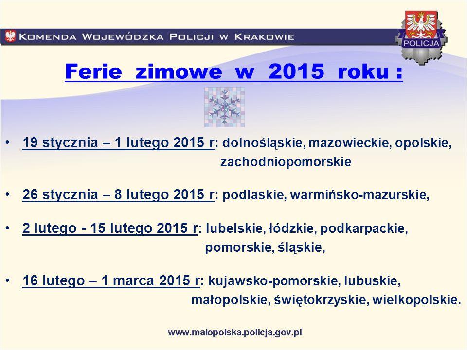 Informacje o utrudnieniach na drogach można uzyskać na stronach internetowych: Generalna Dyrekcja Dróg Krajowych i Autostrad w Krakowie – www.krakow.gddkia.gov.pl Autostrada A4 - www.autostrada-a4.pl Zarząd Dróg Wojewódzkich w Krakowie – www.e-drogi.pl/zdwkrwww.e-drogi.pl/zdwkr Generalna Dyrekcja Dróg Krajowych i Autostrad udostępniła punkt informacji drogowej o stanie przejezdności dróg krajowych pod całodobowym numerem telefonu: 19 - 111