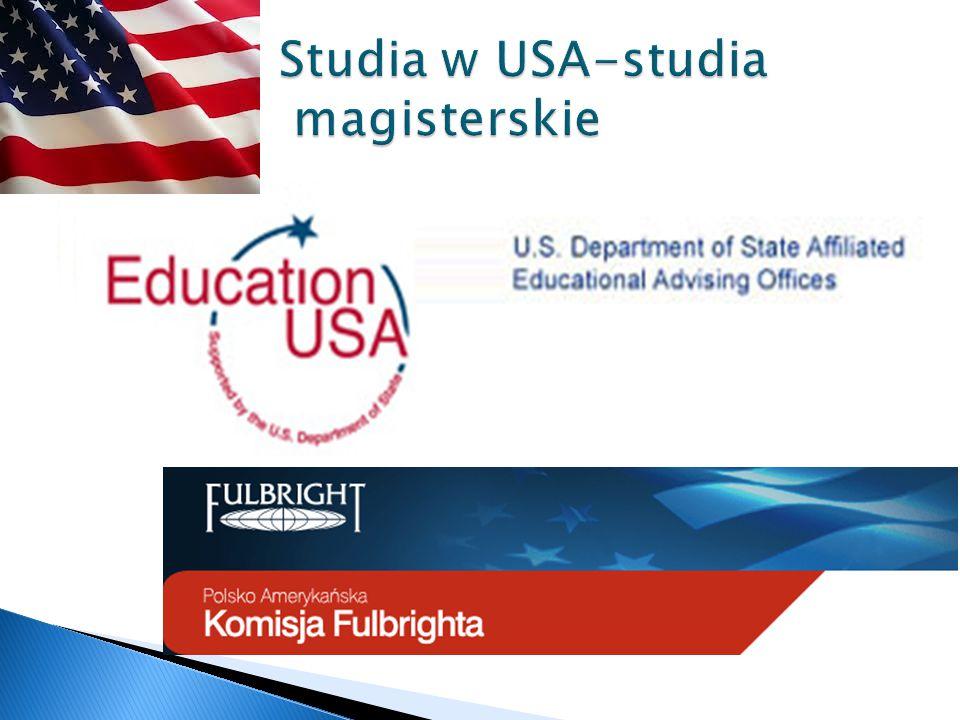 Pomoże znaleźć uczelnie w USA  Pomoże zorganizować środki finansowe  Pomoże wypełnić konieczne dokumenty aplikacyjne i wizowe  Poinformuje o wymaganych egzaminów które należy zdać w Polsce przed wyjazdem na studia do USA  Pomoże dotrzymać terminów http://www.fulbright.edu.pl/studia_USA/5347 87380.html