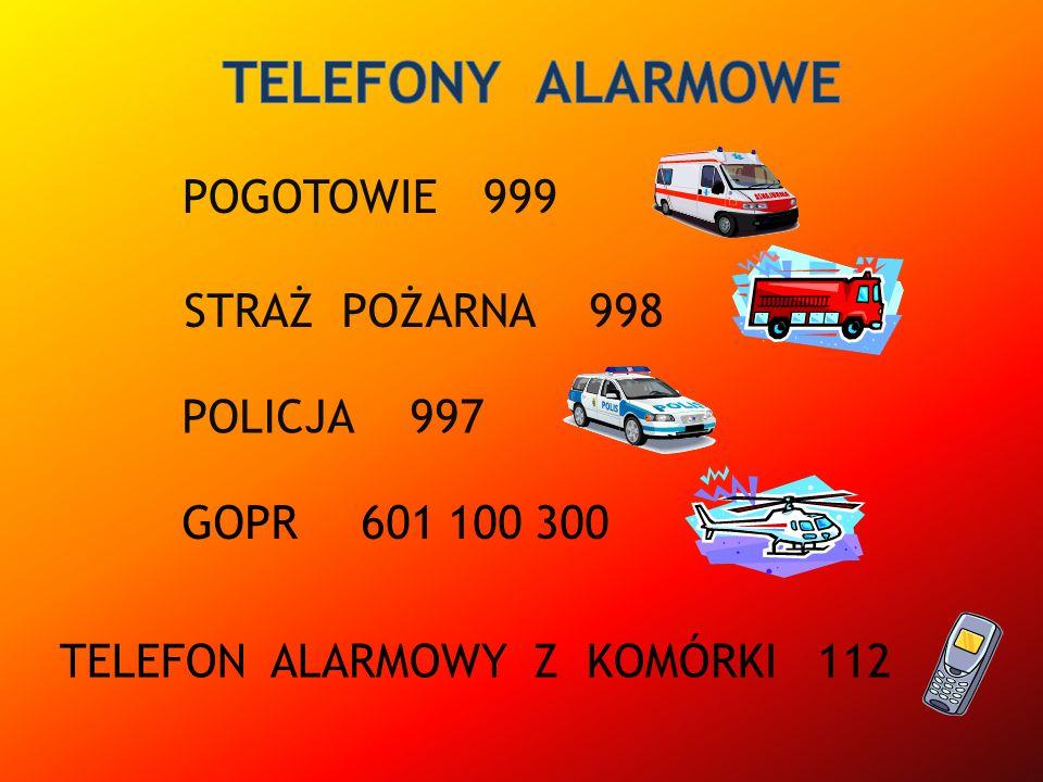 POGOTOWIE POLICJA STRAŻ POŻARNA TELEFON ALARMOWY Z KOMÓRKI GOPR 999 998 997 601 100 300 112