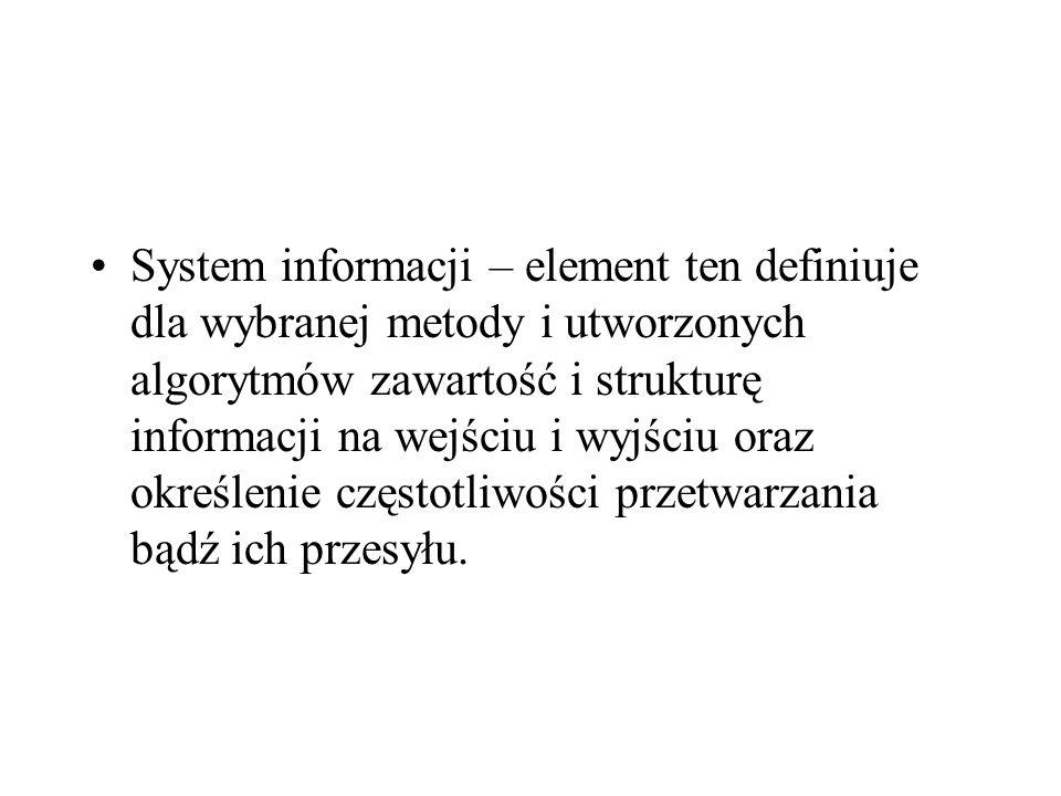 System informacji – element ten definiuje dla wybranej metody i utworzonych algorytmów zawartość i strukturę informacji na wejściu i wyjściu oraz okre