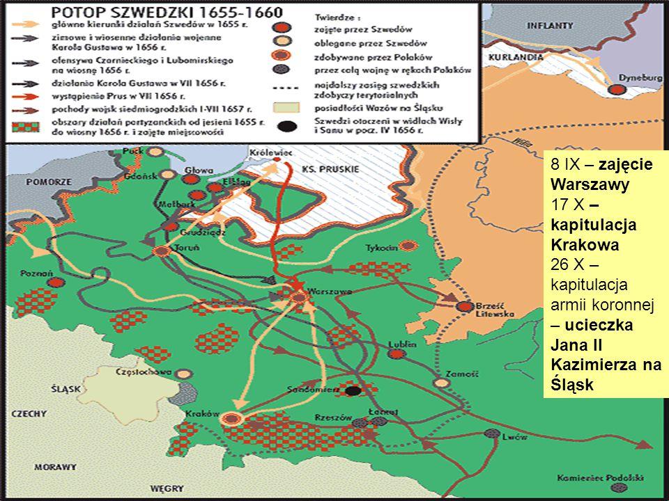 8 IX – zajęcie Warszawy 17 X – kapitulacja Krakowa 26 X – kapitulacja armii koronnej – ucieczka Jana II Kazimierza na Śląsk