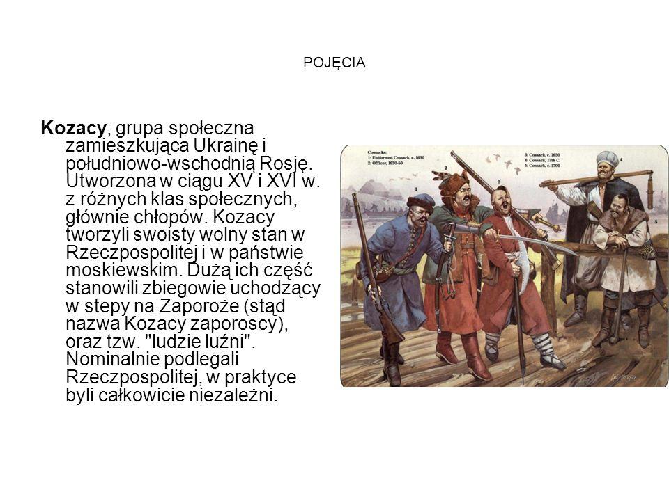 POJĘCIA Kozacy, grupa społeczna zamieszkująca Ukrainę i południowo-wschodnią Rosję. Utworzona w ciągu XV i XVI w. z różnych klas społecznych, głównie