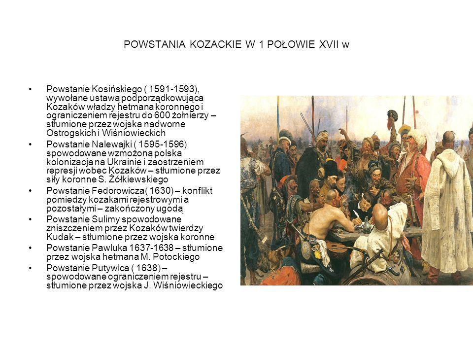 I ETAP POWSTANIA CHMIELNICKIEGO 1648-49 1648 –klęski wojsk koronnych nad Żółtymi Wodami, Korsuniem i Piławcami- Kozacy zajęli niemal całą Ukrainę i dotarli pod Lublin I Zamość Rozszerzenie się na Ukrainie powstania ludowego wymierzonego przeciwko szlachcie, klerowi katolickiemu oraz Żydom Elekcja Jana Kazimierza i zawarcie rozejmu do 1649 1649- oblężenia Zbaraża i bitwa pod Zborowem Ugoda zborowska 1649 -Chmielnicki hetmanem kozackim -Województwa kijowskie, bracławskie i czernichowskie uznano za ziemie ukraińskie