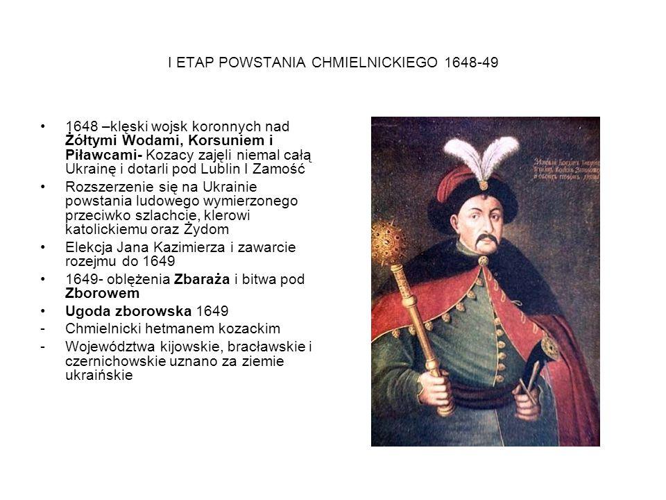 I ETAP POWSTANIA CHMIELNICKIEGO 1648-49 1648 –klęski wojsk koronnych nad Żółtymi Wodami, Korsuniem i Piławcami- Kozacy zajęli niemal całą Ukrainę i do