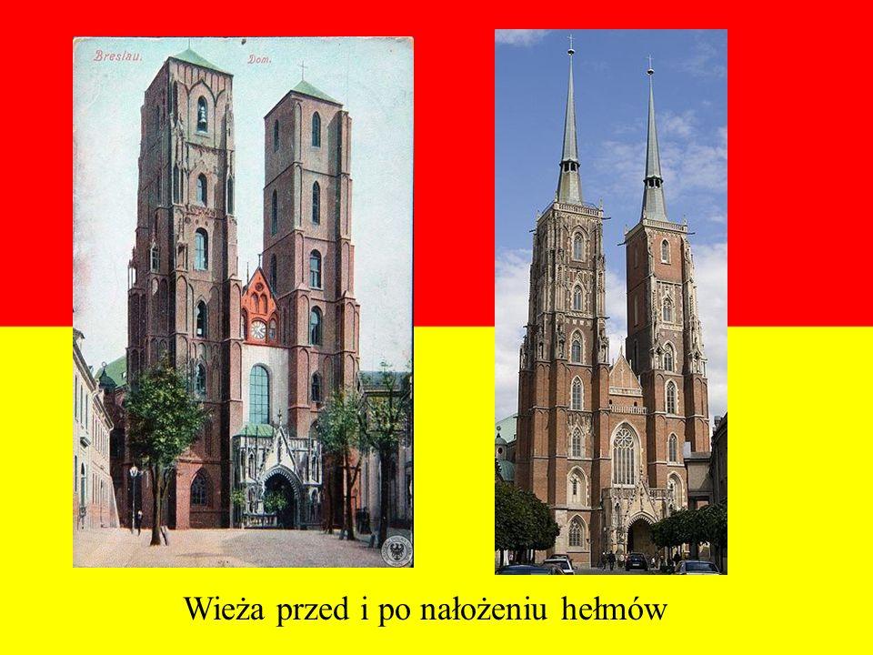 Wieża przed i po nałożeniu hełmów