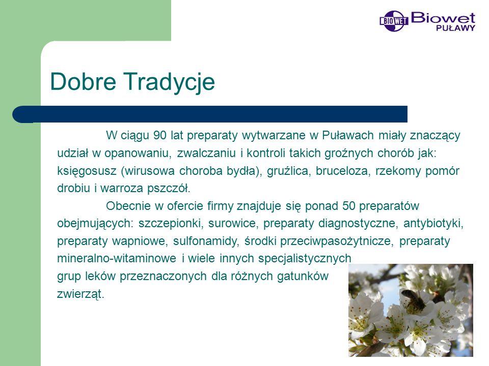 Dobre Tradycje W ciągu 90 lat preparaty wytwarzane w Puławach miały znaczący udział w opanowaniu, zwalczaniu i kontroli takich groźnych chorób jak: księgosusz (wirusowa choroba bydła), gruźlica, bruceloza, rzekomy pomór drobiu i warroza pszczół.