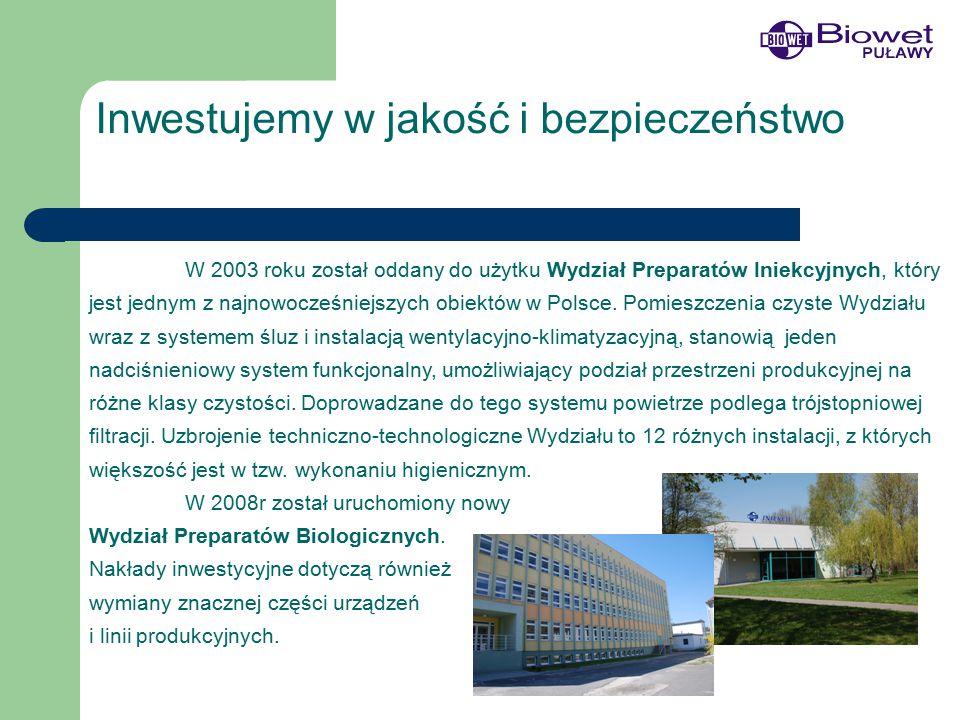 Inwestujemy w jakość i bezpieczeństwo W 2003 roku został oddany do użytku Wydział Preparatów Iniekcyjnych, który jest jednym z najnowocześniejszych obiektów w Polsce.