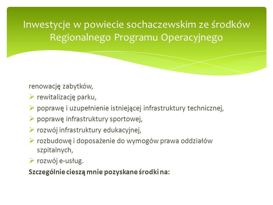  Przygotowanie terenu inwestycyjnego w centrum miasta Sochaczew – projekt obejmuje przebudowę ulicy Grabskiego i skweru Solidarności oraz uzbrojenie terenu na tyłach ratusza w sieć kanalizacji sanitarnej, sieć wodociągową, przebudowę ciągów komunikacyjnych, wykonanie nowej ulicy wraz z parkingami oraz oświetleniem terenu - ;  Przebudowa układu komunikacyjnego, alternatywnego dojazdu do m.st.