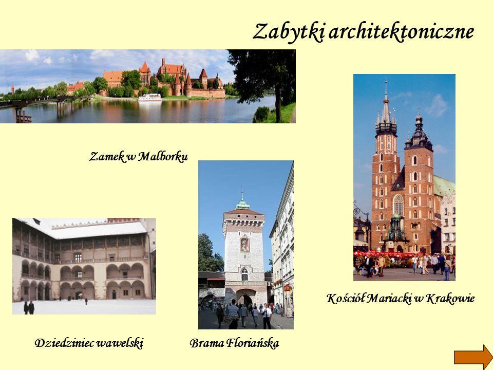 Zabytki architektoniczne Zamek w Malborku Dziedziniec wawelskiBrama Floriańska Kościół Mariacki w Krakowie