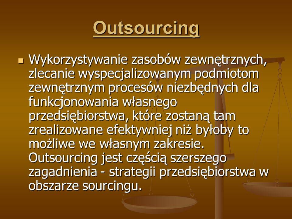 Outsourcing Wykorzystywanie zasobów zewnętrznych, zlecanie wyspecjalizowanym podmiotom zewnętrznym procesów niezbędnych dla funkcjonowania własnego pr