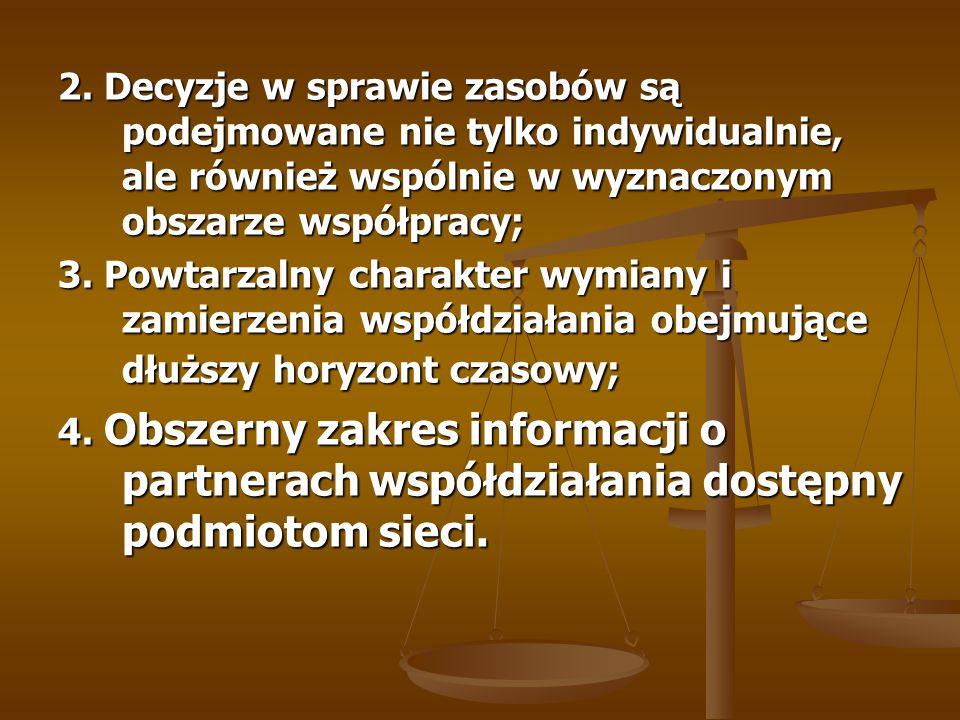 2. Decyzje w sprawie zasobów są podejmowane nie tylko indywidualnie, ale również wspólnie w wyznaczonym obszarze współpracy; 3. Powtarzalny charakter