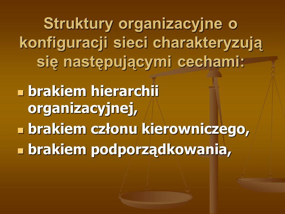 Struktury organizacyjne o konfiguracji sieci charakteryzują się następującymi cechami: brakiem hierarchii organizacyjnej, brakiem hierarchii organizac