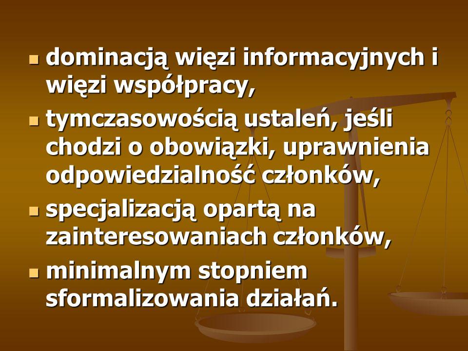 dominacją więzi informacyjnych i więzi współpracy, dominacją więzi informacyjnych i więzi współpracy, tymczasowością ustaleń, jeśli chodzi o obowiązki