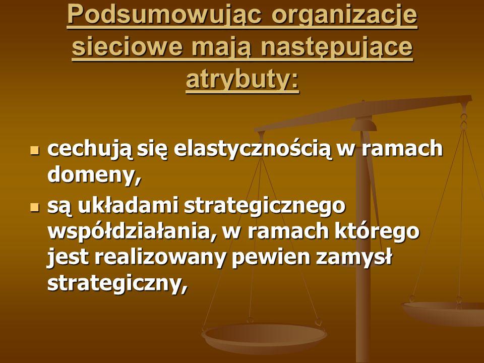 Podsumowując organizacje sieciowe mają następujące atrybuty: cechują się elastycznością w ramach domeny, cechują się elastycznością w ramach domeny, s