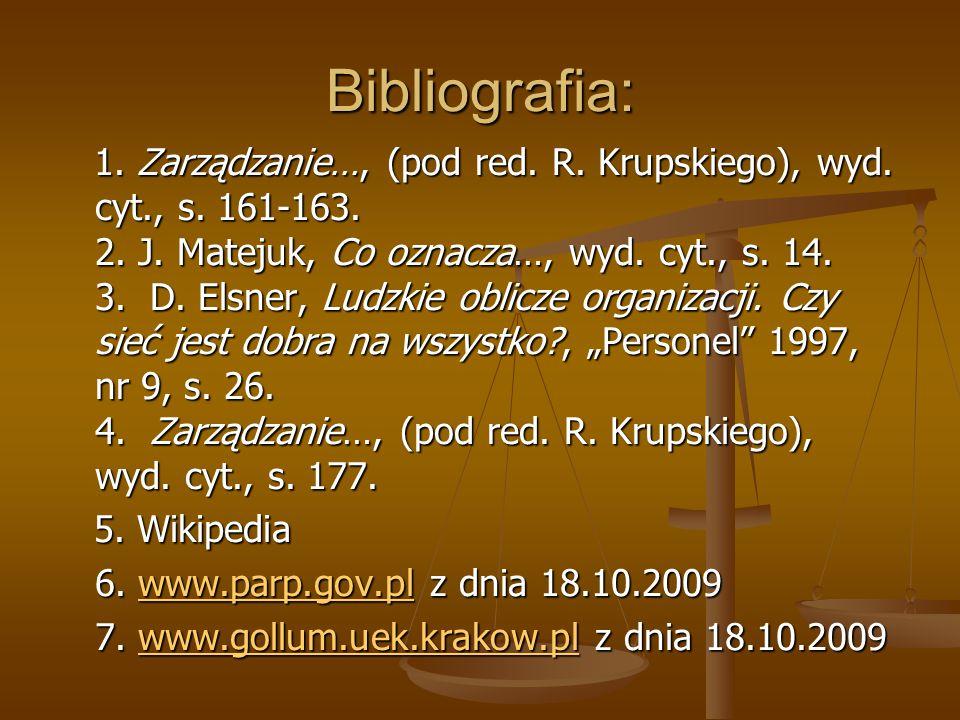 Bibliografia: 1. Zarządzanie…, (pod red. R. Krupskiego), wyd. cyt., s. 161-163. 2. J. Matejuk, Co oznacza…, wyd. cyt., s. 14. 3. D. Elsner, Ludzkie ob