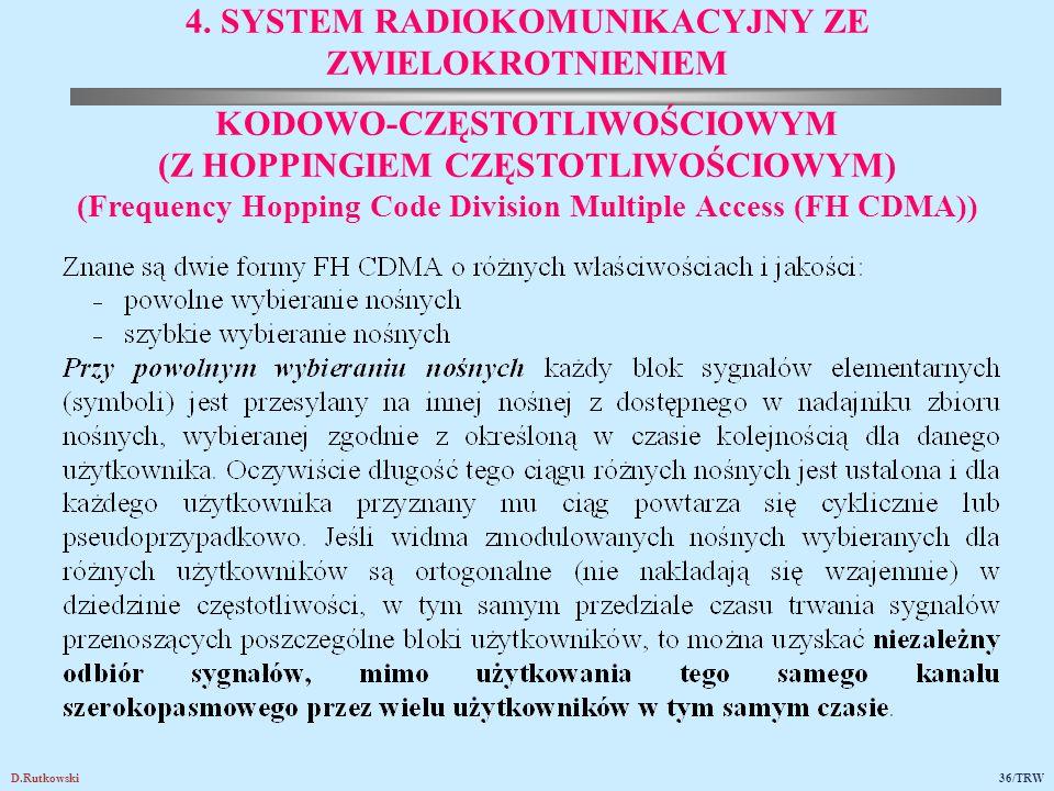 D.Rutkowski36/TRW 4. SYSTEM RADIOKOMUNIKACYJNY ZE ZWIELOKROTNIENIEM KODOWO-CZĘSTOTLIWOŚCIOWYM (Z HOPPINGIEM CZĘSTOTLIWOŚCIOWYM) (Frequency Hopping Cod