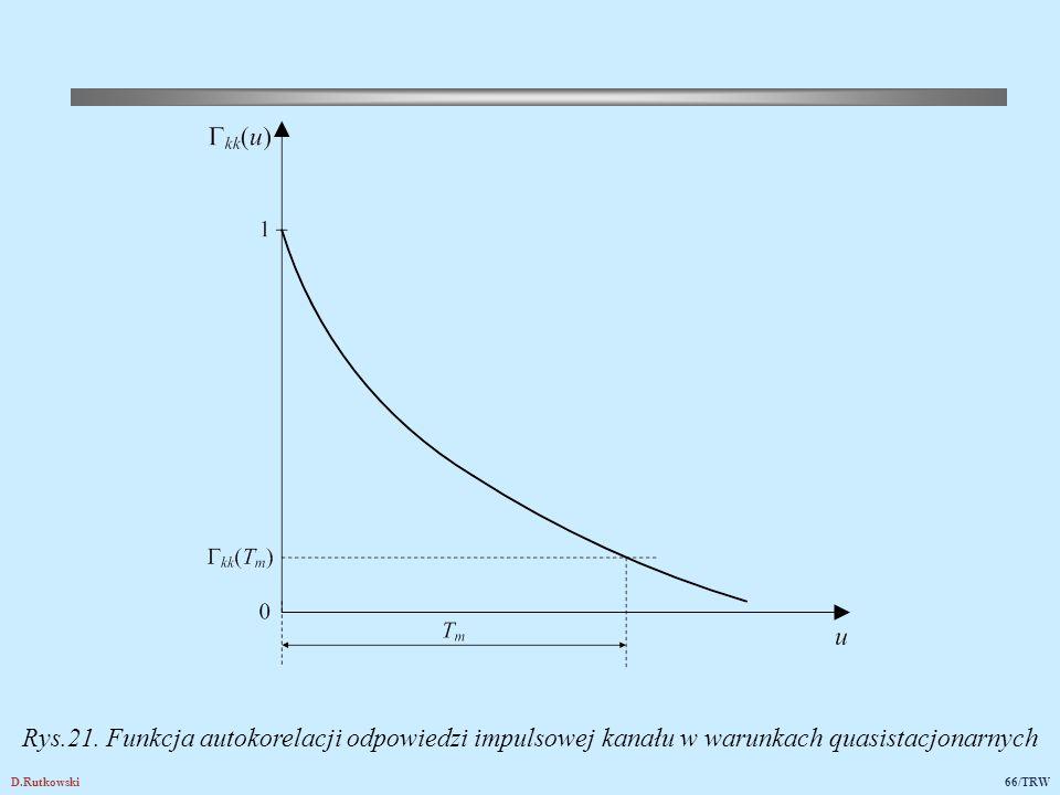 D.Rutkowski66/TRW Rys.21. Funkcja autokorelacji odpowiedzi impulsowej kanału w warunkach quasistacjonarnych