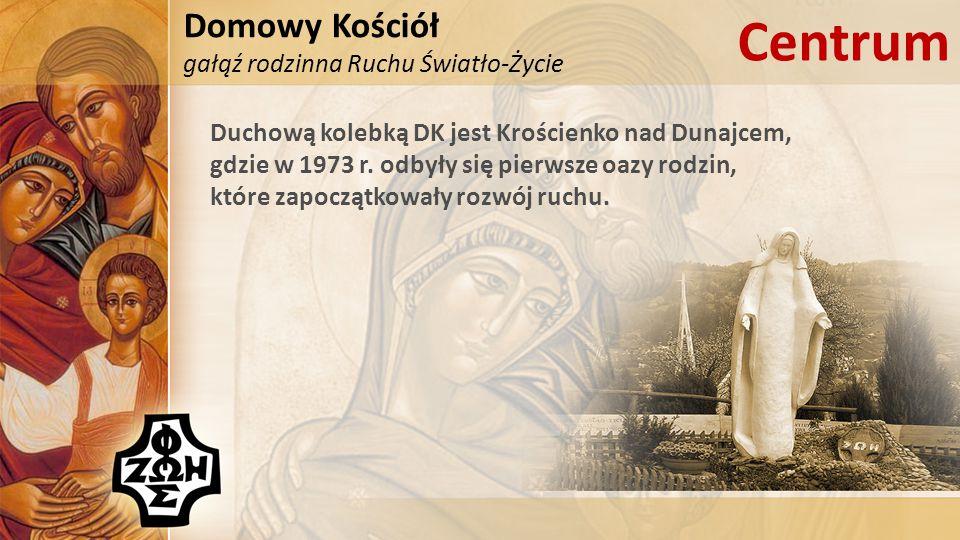 Domowy Kościół gałąź rodzinna Ruchu Światło-Życie Centrum Duchową kolebką DK jest Krościenko nad Dunajcem, gdzie w 1973 r. odbyły się pierwsze oazy ro