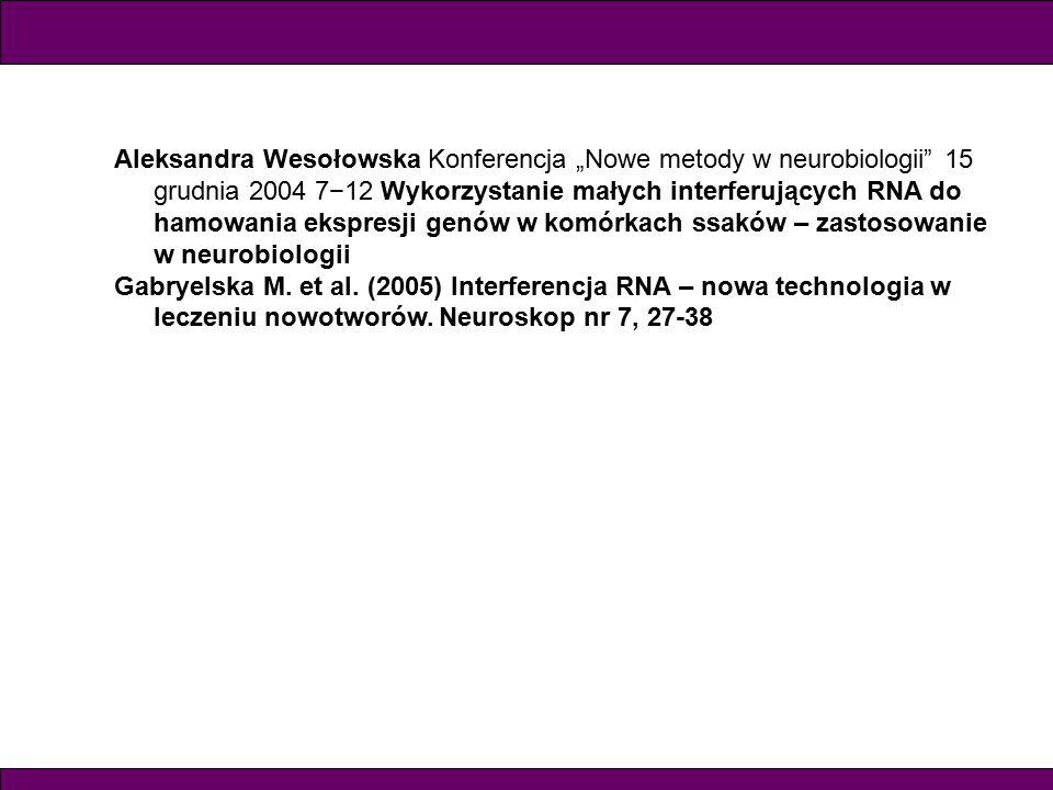 """Aleksandra Wesołowska Konferencja """"Nowe metody w neurobiologii 15 grudnia 2004 7−12 Wykorzystanie małych interferujących RNA do hamowania ekspresji genów w komórkach ssaków – zastosowanie w neurobiologii Gabryelska M."""