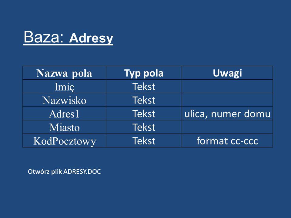 Nazwa pola Typ polaUwagi Imię Tekst Nazwisko Tekst Adres1 Tekstulica, numer domu Miasto Tekst KodPocztowy Tekstformat cc-ccc Baza: Adresy Otwórz plik