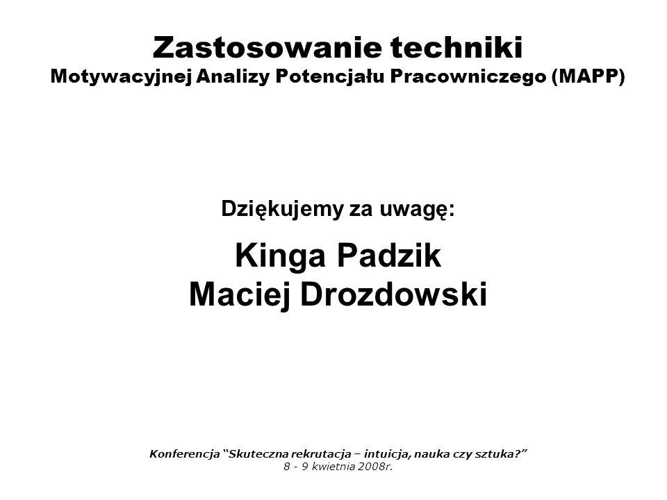 Zastosowanie techniki Motywacyjnej Analizy Potencjału Pracowniczego (MAPP) Dziękujemy za uwagę: Kinga Padzik Maciej Drozdowski Konferencja Skuteczna rekrutacja – intuicja, nauka czy sztuka 8 - 9 kwietnia 2008r.