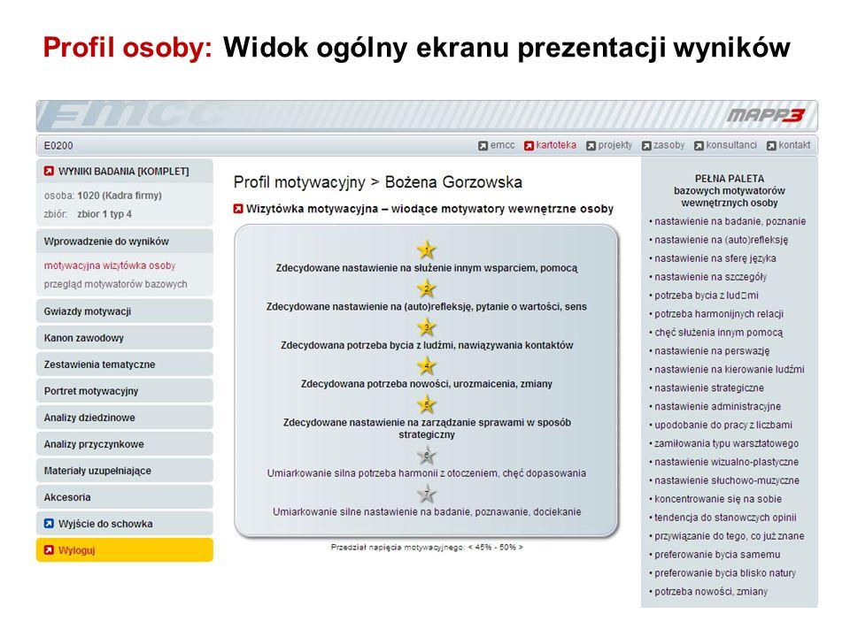Profil osoby: Widok ogólny ekranu prezentacji wyników