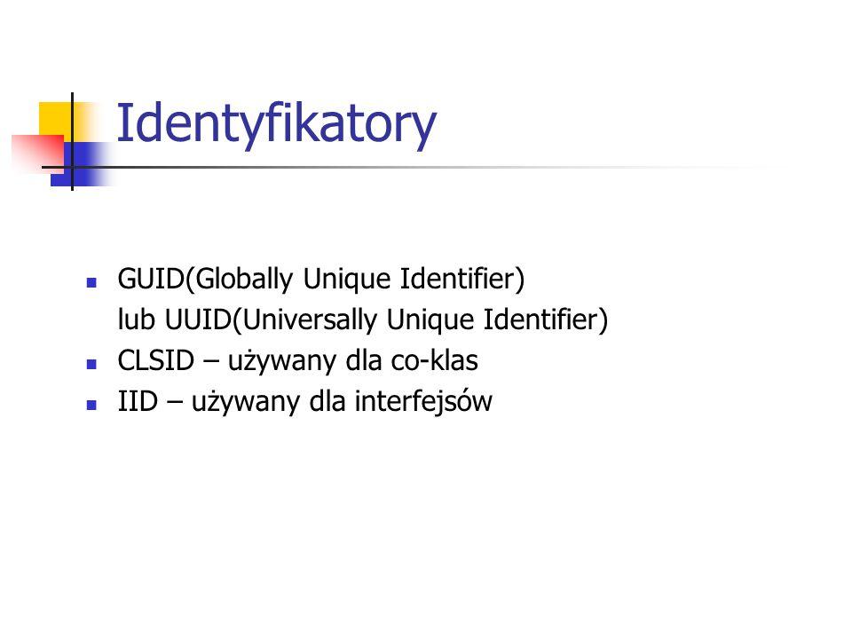 Identyfikatory GUID(Globally Unique Identifier) lub UUID(Universally Unique Identifier) CLSID – używany dla co-klas IID – używany dla interfejsów