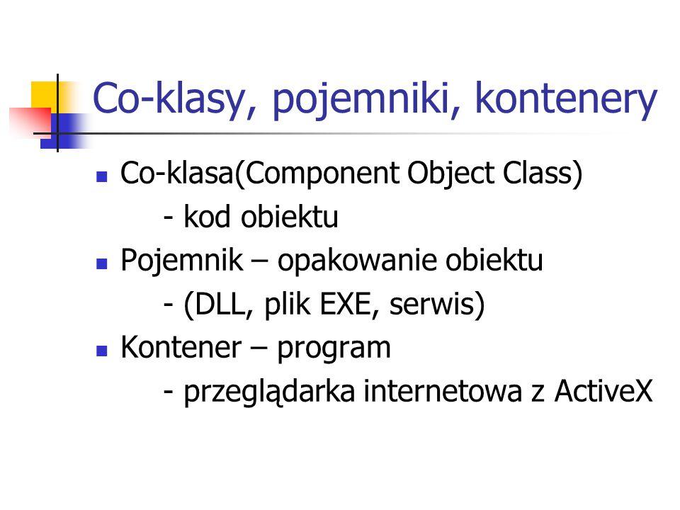 Co-klasy, pojemniki, kontenery Co-klasa(Component Object Class) - kod obiektu Pojemnik – opakowanie obiektu - (DLL, plik EXE, serwis) Kontener – program - przeglądarka internetowa z ActiveX
