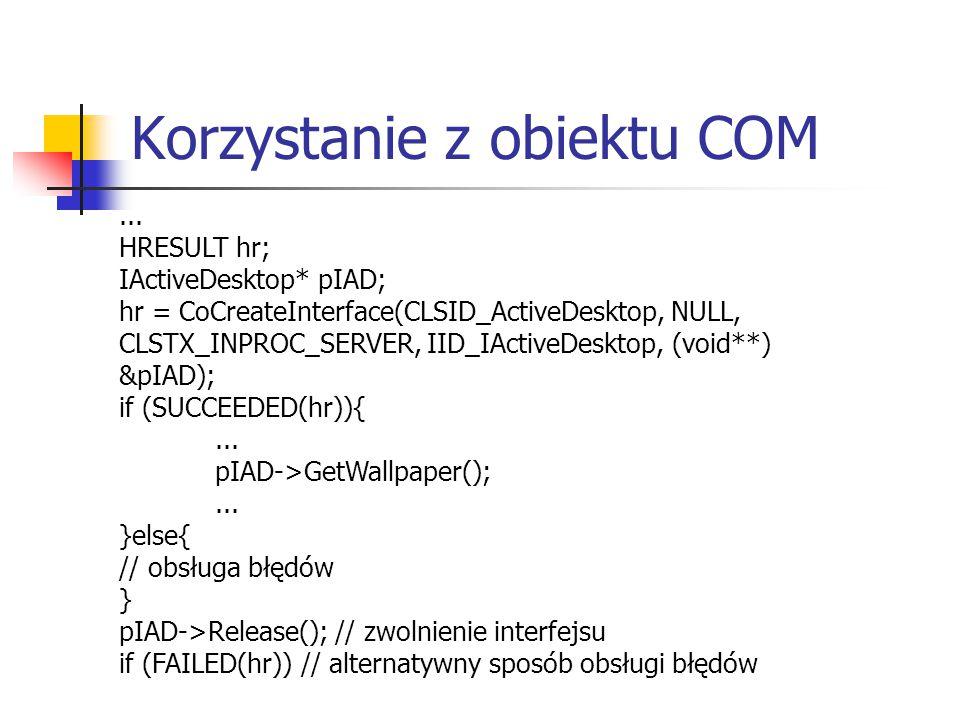 Korzystanie z obiektu COM...