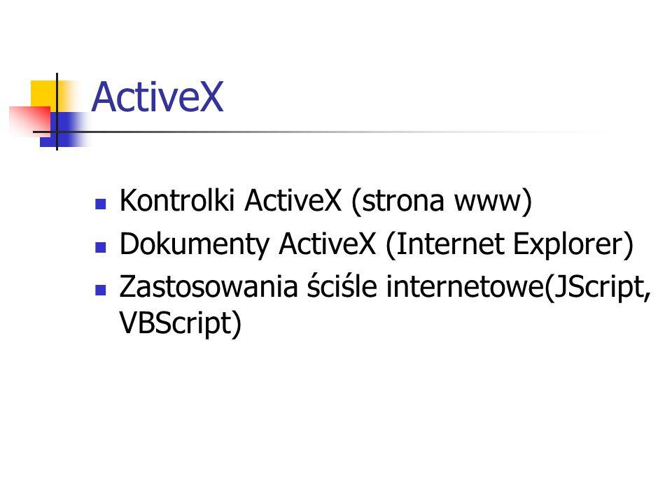 ActiveX Kontrolki ActiveX (strona www) Dokumenty ActiveX (Internet Explorer) Zastosowania ściśle internetowe(JScript, VBScript)