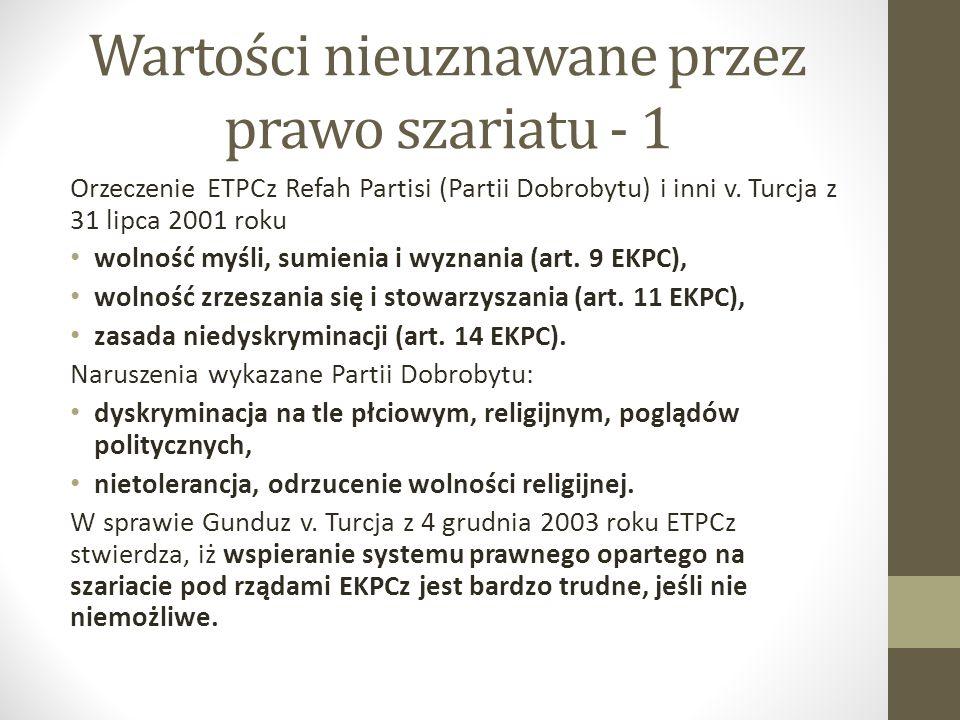 Wartości nieuznawane przez prawo szariatu - 1 Orzeczenie ETPCz Refah Partisi (Partii Dobrobytu) i inni v. Turcja z 31 lipca 2001 roku wolność myśli, s