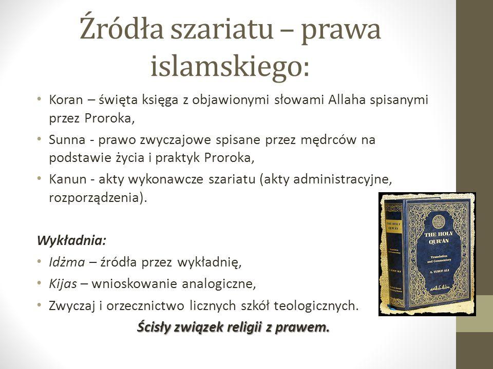 Źródła szariatu – prawa islamskiego: Koran – święta księga z objawionymi słowami Allaha spisanymi przez Proroka, Sunna - prawo zwyczajowe spisane prze